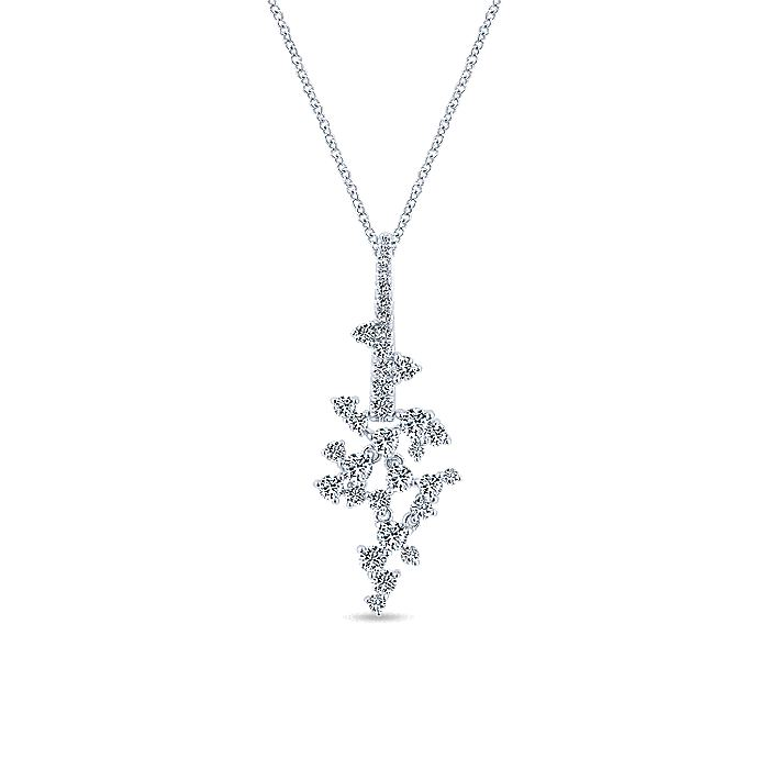 18K White Gold Diamond Cluster Pendant Necklace