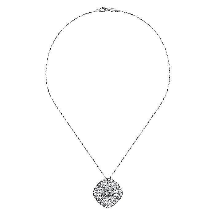 18K White Gold Diamond Floral Pendant Necklace
