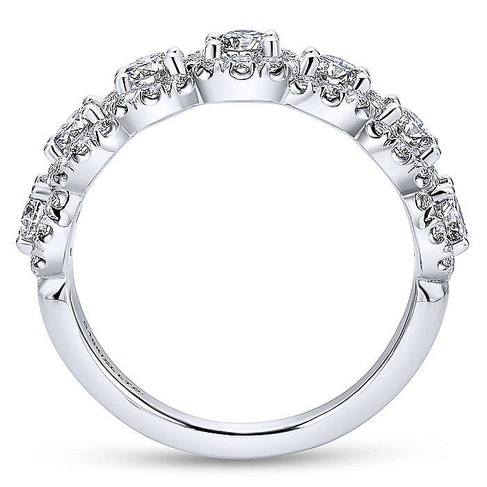 18K White Gold Diamond Halo Station Ring