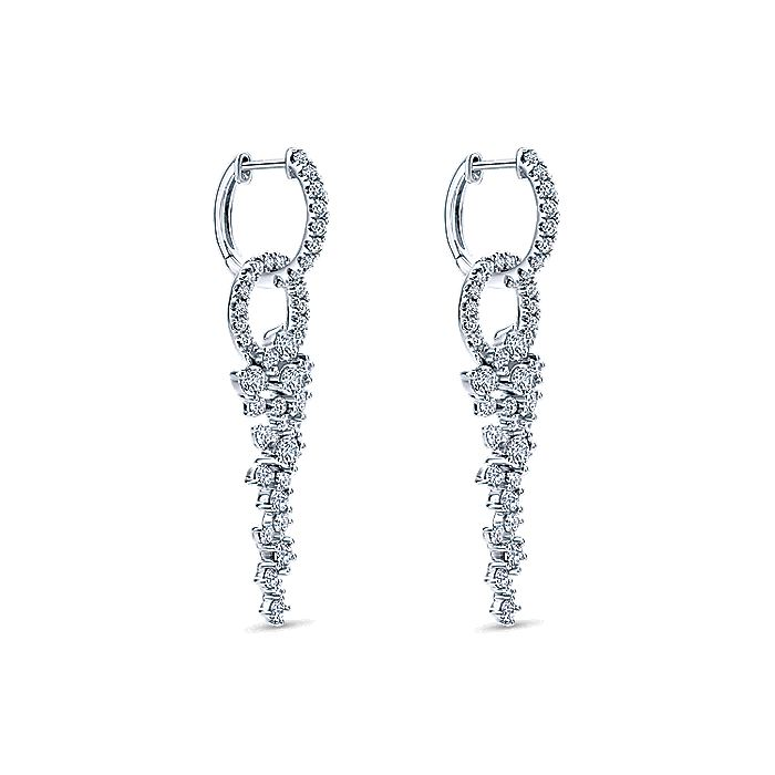 18K White Gold Diamond Huggie Earrings with Cascading Cluster Drops