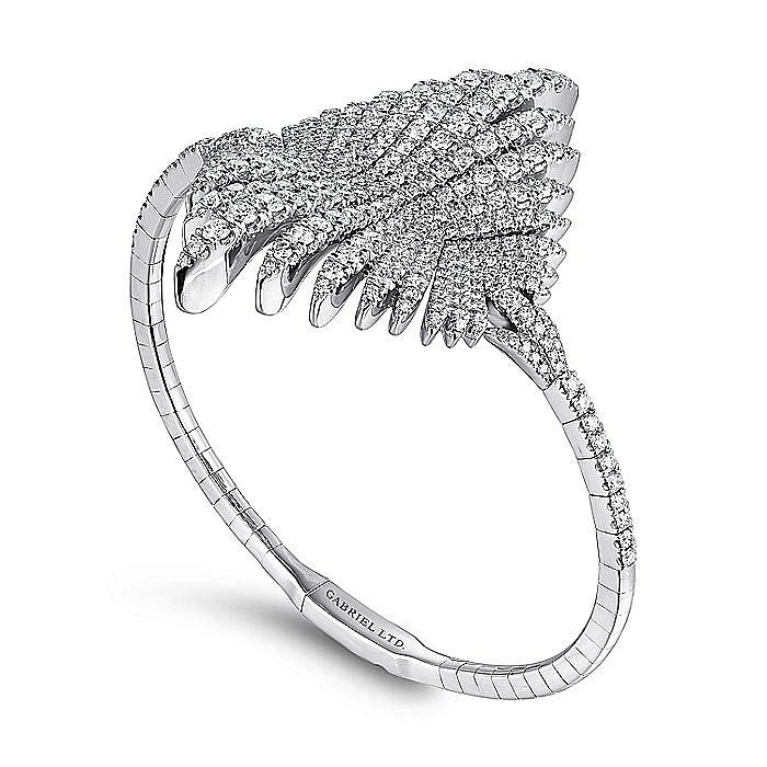 18K White Gold Diamond Pavé Statement Bangle