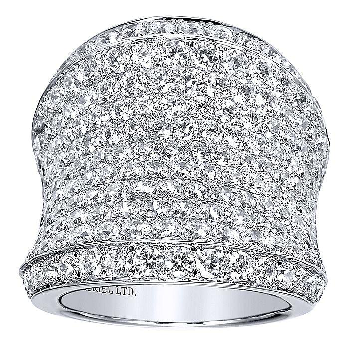 18K White Gold Diamond Pavé Statement Ring