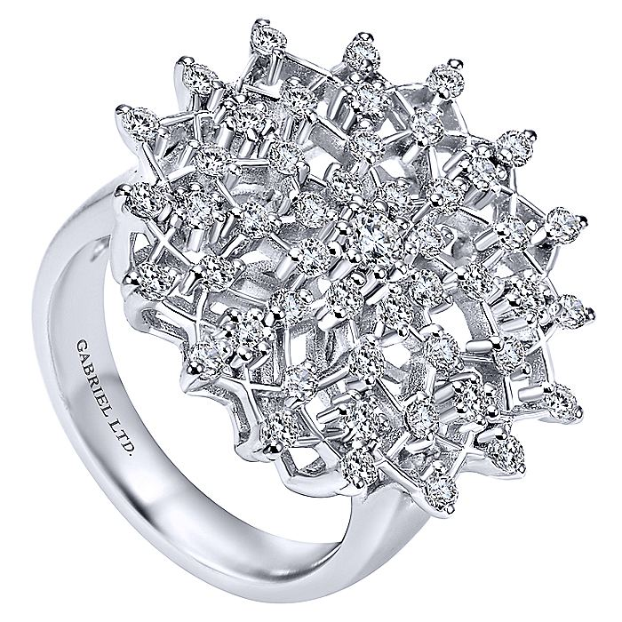 18K White Gold Diamond Snowflake Statement Ring