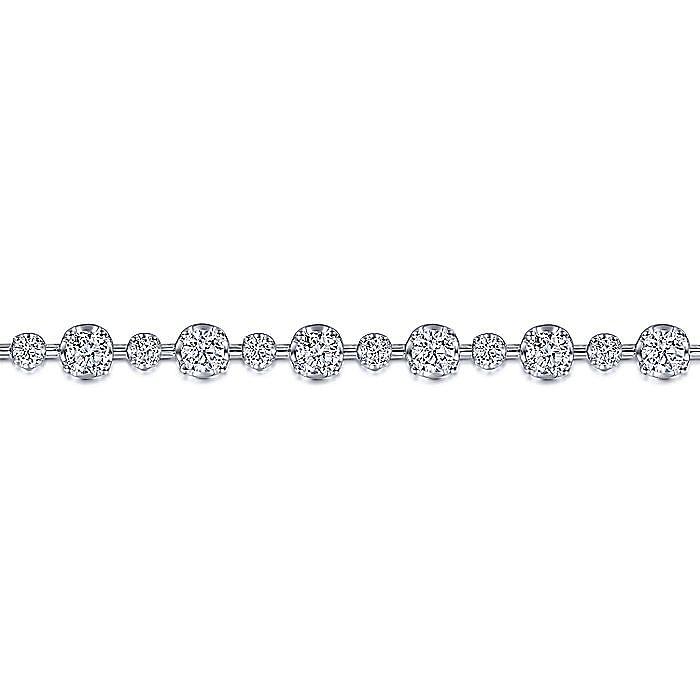 18K White Gold Diamond Station Bracelet