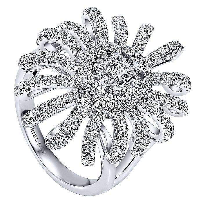 18K White Gold Diamond Sunburst Statement Ring