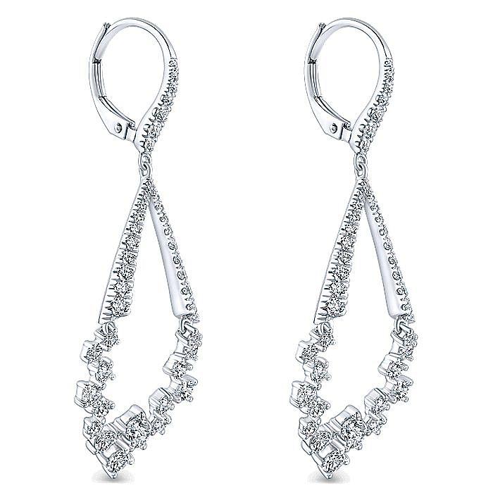 18K White Gold Diamond Teardrop Leverback Earrings
