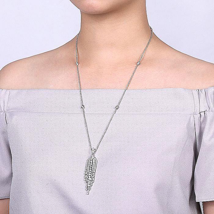 18K White Gold Diamond Waterfall Pendant Necklace