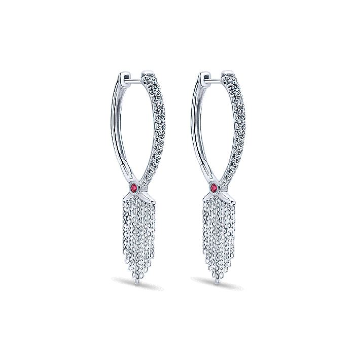 18K White Gold Diamond and Ruby Huggie Earrings with Chain Drops