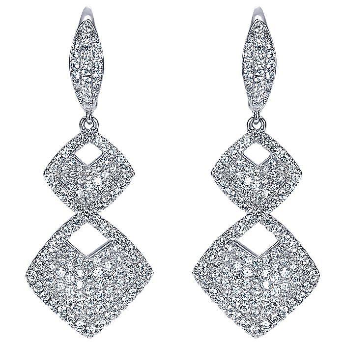 18K White Gold Double Rhombus Diamond Drop Earrings