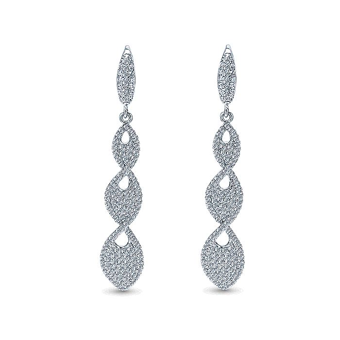 18K White Gold Elongated Teardrop Diamond Cluster Drop Earrings