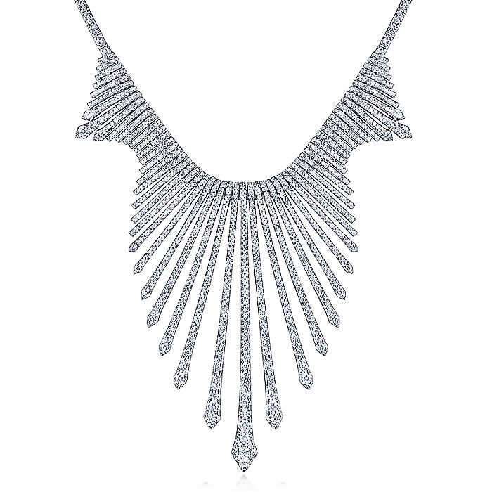 18K White Gold Graduating Spikes Diamond Statement Necklace