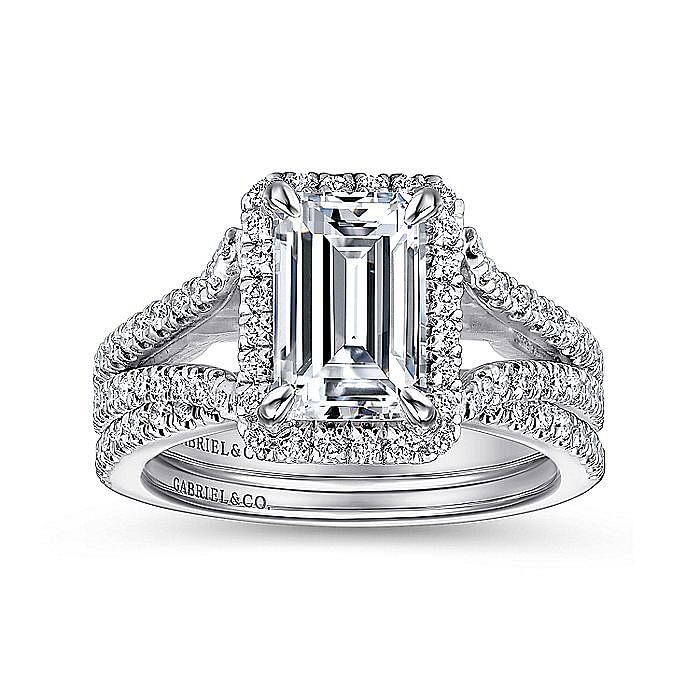 18K White Gold Halo Emerald Cut Diamond Engagement Ring