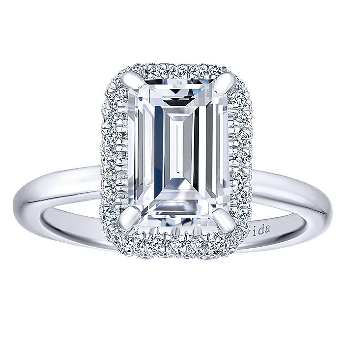 18K White Gold Halo Emerald Cut Diamond Engagement Ring
