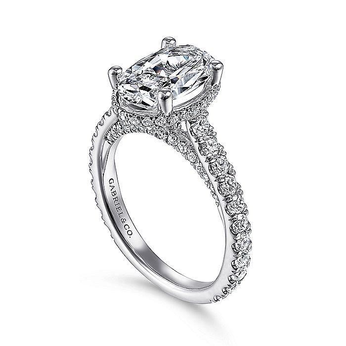 18K White Gold Hidden Halo Oval Diamond Engagement Ring