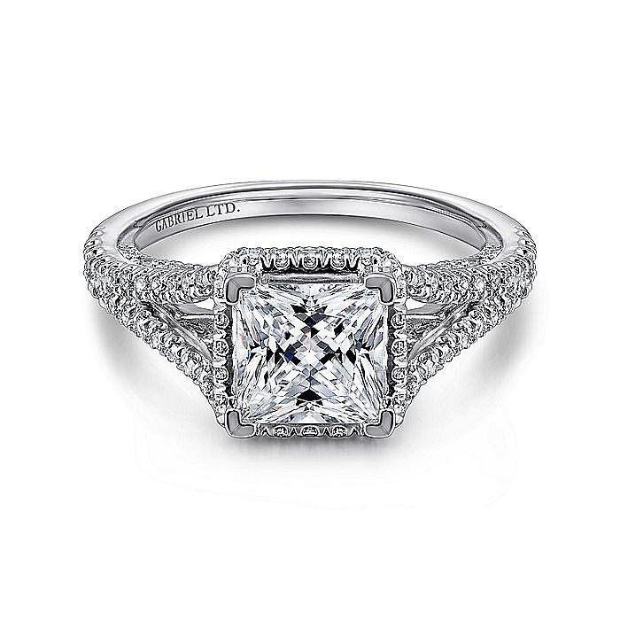 18K White Gold Hidden Halo Princess Cut Diamond Engagement Ring
