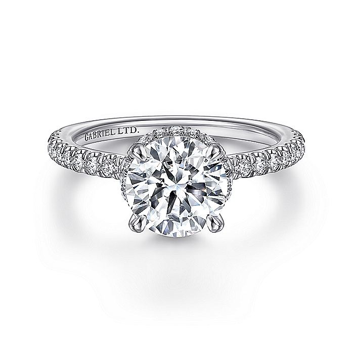 18K White Gold Hidden Halo Round Diamond Engagement Ring