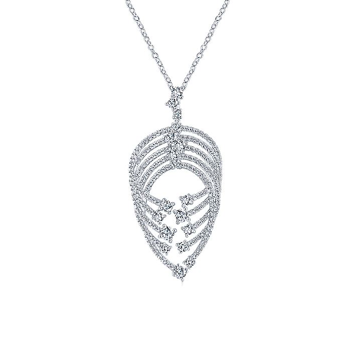 18K White Gold Intersecting Diamond Channels Pendant Necklace