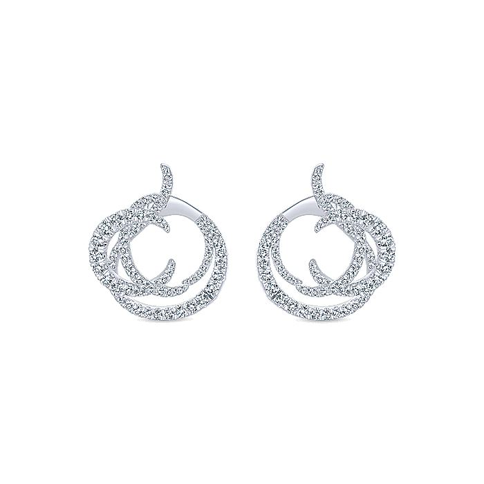 18K White Gold Intricate Round Twisted 25mm Diamond Hoop Earrings