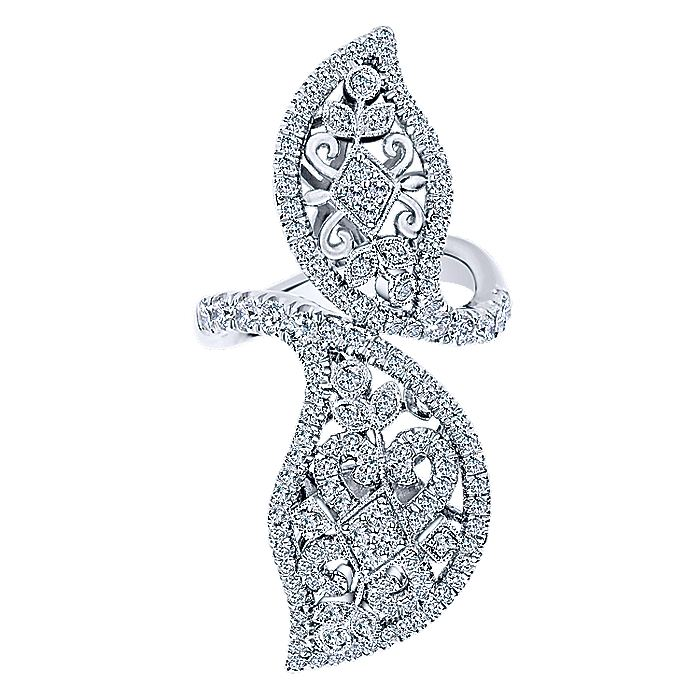 18K White Gold Large Diamond Bypassing Leaves Statement Ring