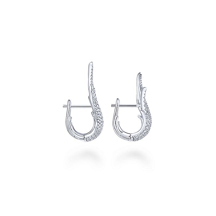 18K White Gold Layered 25mm Diamond Huggie Earrings