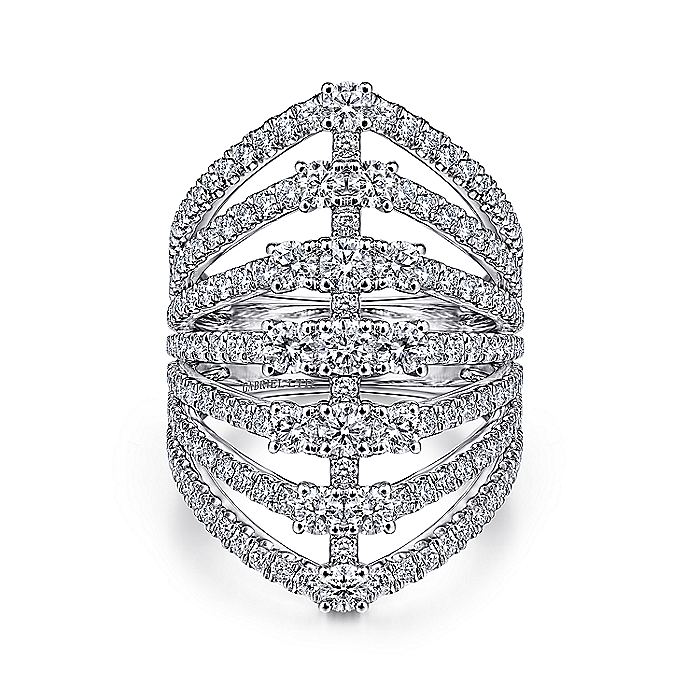 18K White Gold Layered Diamond Fan Wide Band Ring