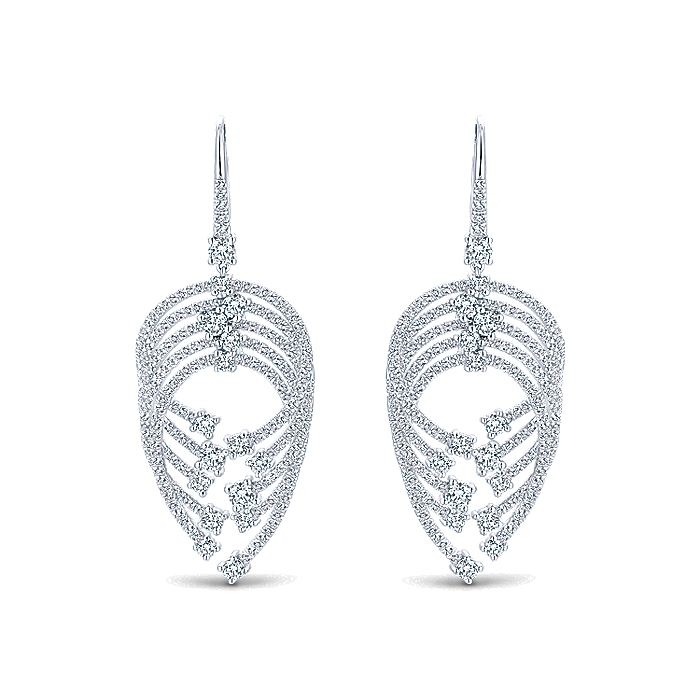 18K White Gold Layered Teardrop Diamond Drop Earrings