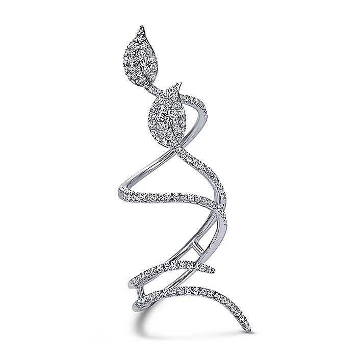 18K White Gold Long Wrapping Pavé Diamond Leaf Statement Ring