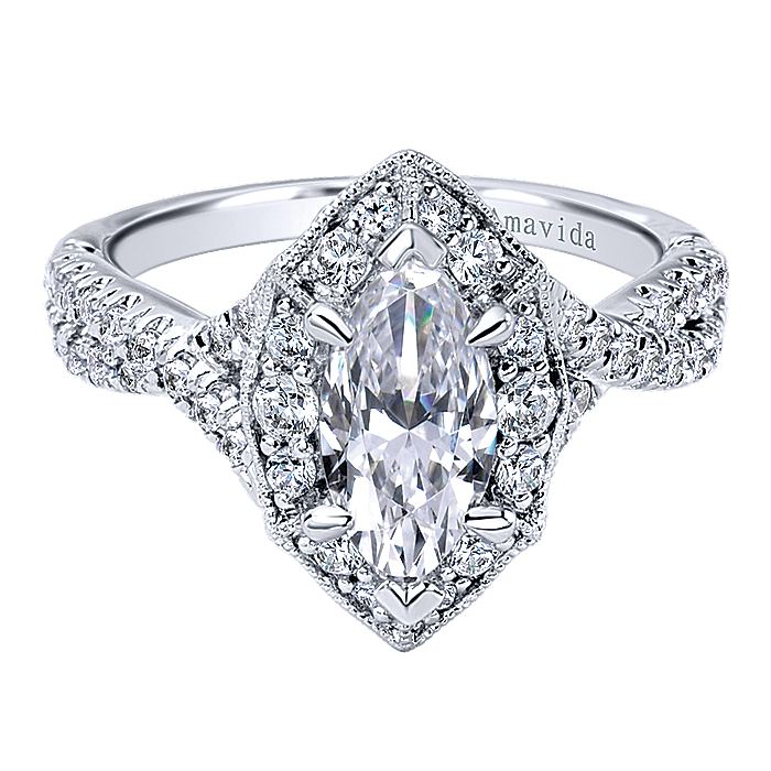 18K White Gold Marquise Halo Diamond Engagement Ring