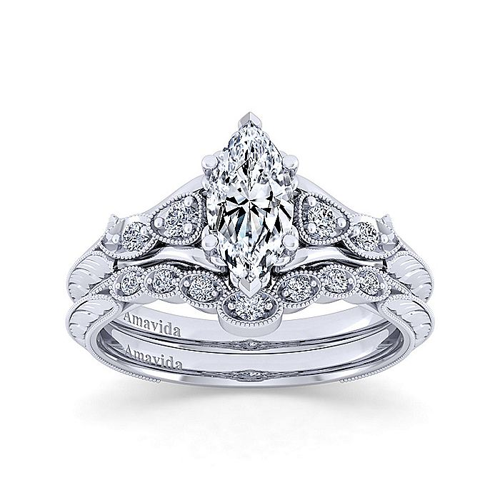 18K White Gold Marquise Shape Diamond Engagement Ring