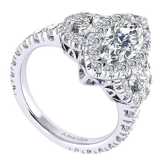 18K White Gold Marquise Shape Three Stone Halo Diamond Engagement Ring