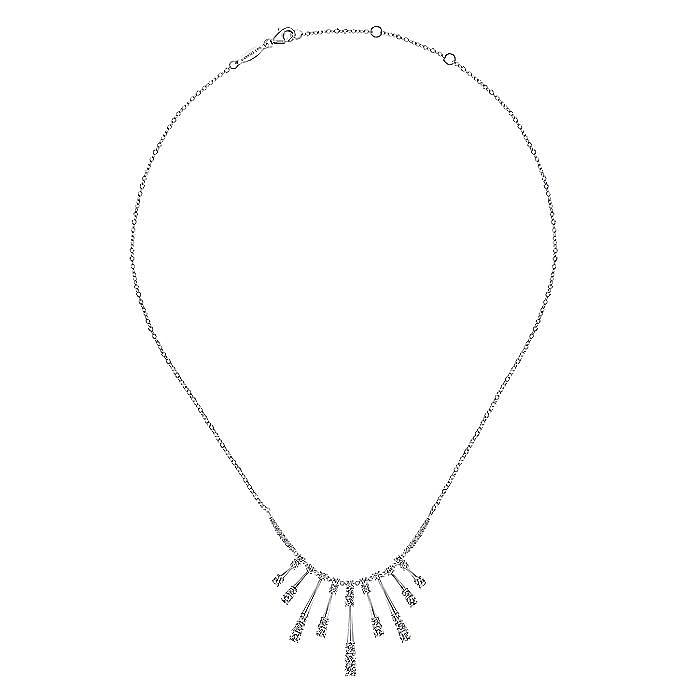 18K White Gold Multi Diamond Bar Station Necklace