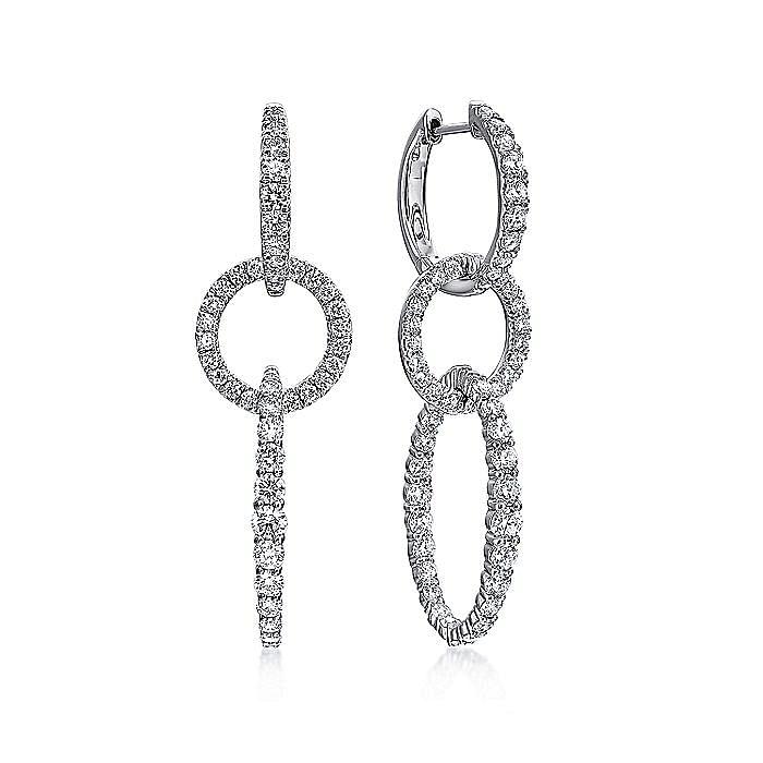 18K White Gold Multi Link Diamond Drop Huggies