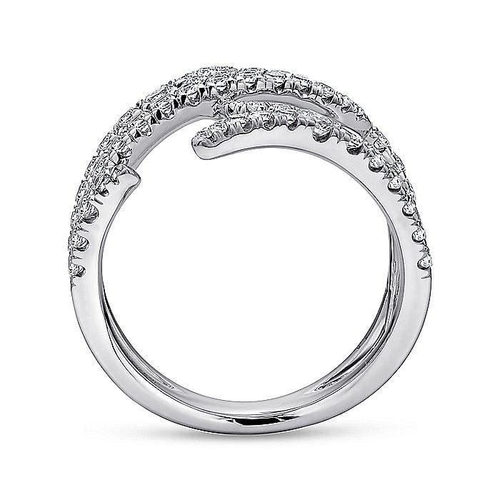 18K White Gold Multi Row Diamond Branch Ring