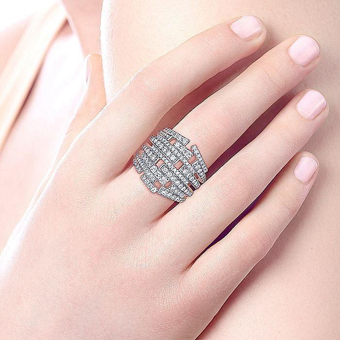 18K White Gold Multi Row Diamond Statement Ring
