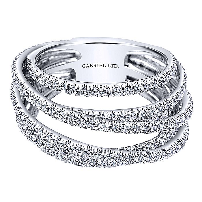 18K White Gold Multi Row Intersecting Diamond Ring
