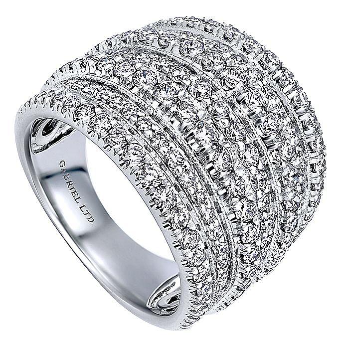 18K White Gold Mutli Row Wide Diamond Statement Ring