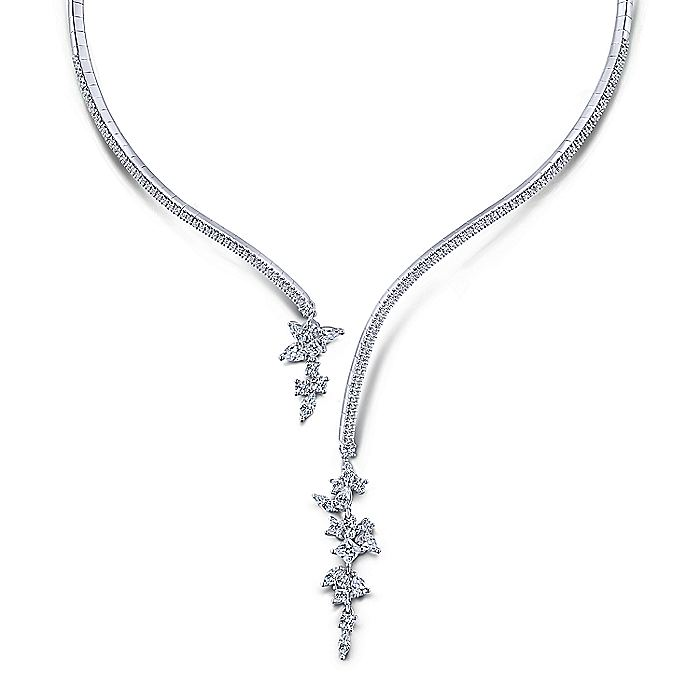 18K White Gold Open Diamond Cluster Collar Necklace