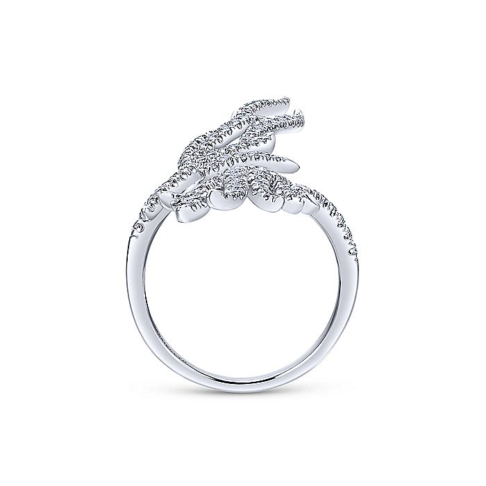 18K White Gold Open Diamond Flame Statement Ring