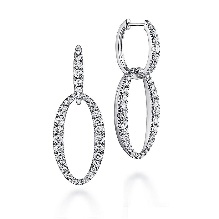 18K White Gold Oval Diamond Link Huggie Earrings