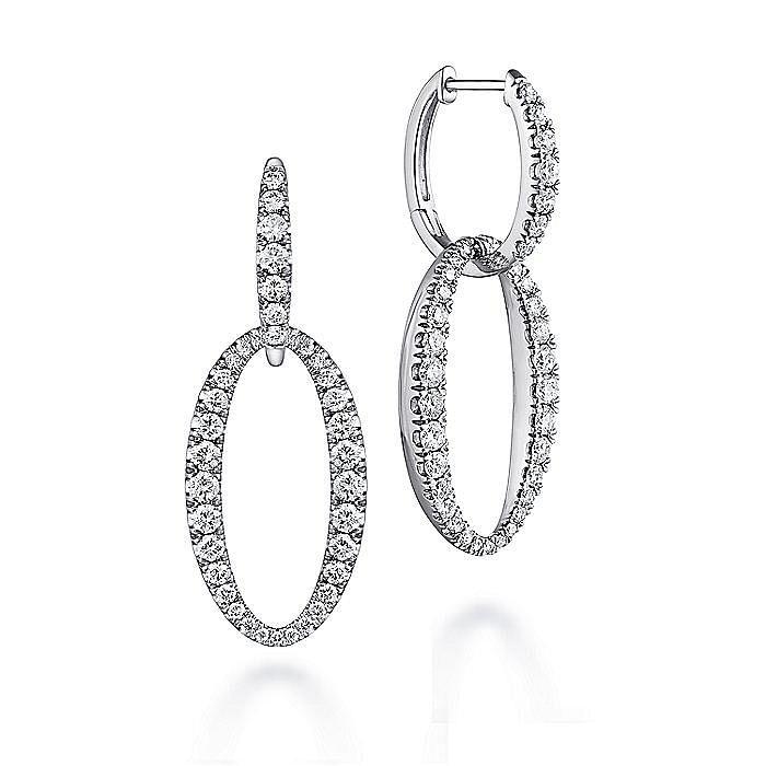 18K White Gold Oval Diamond Link Huggies