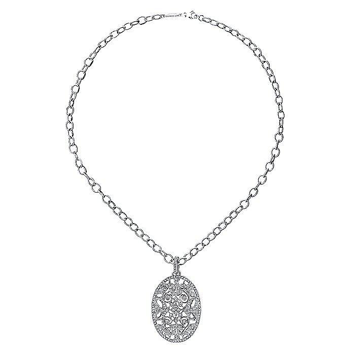 18K White Gold Oval Filligree Diamond Necklace