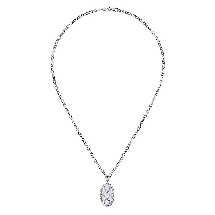 18K White Gold Oval Rock Crystal Pendant Necklace with Diamond Overlay
