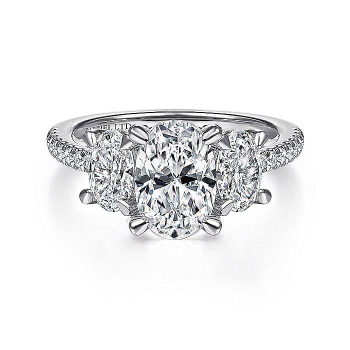 18K White Gold Oval Three Stone Diamond Engagement Ring