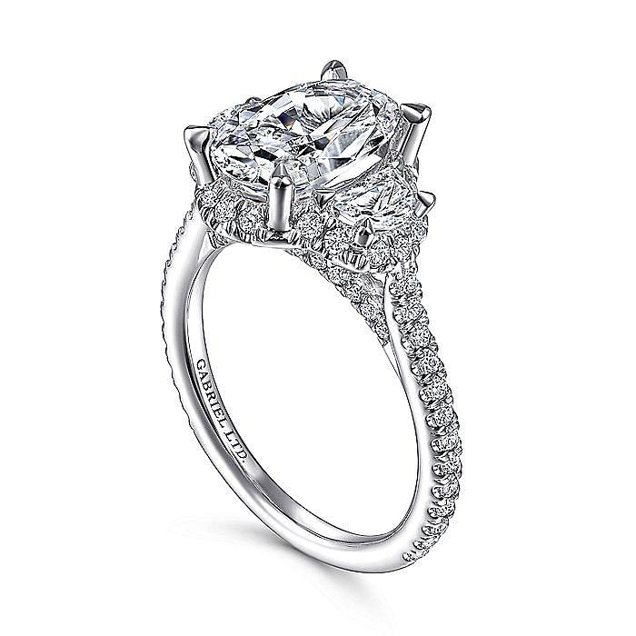 18K White Gold Oval Three Stone Halo Diamond Engagement Ring