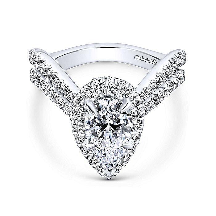 18K White Gold Pear Shape Halo Diamond Engagement Ring