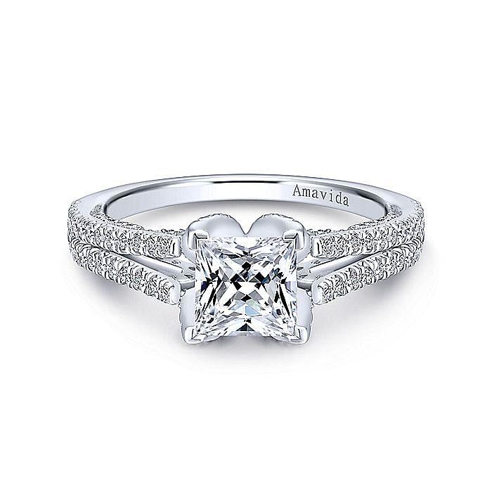 18K White Gold Princess Cut Diamond Engagement Ring