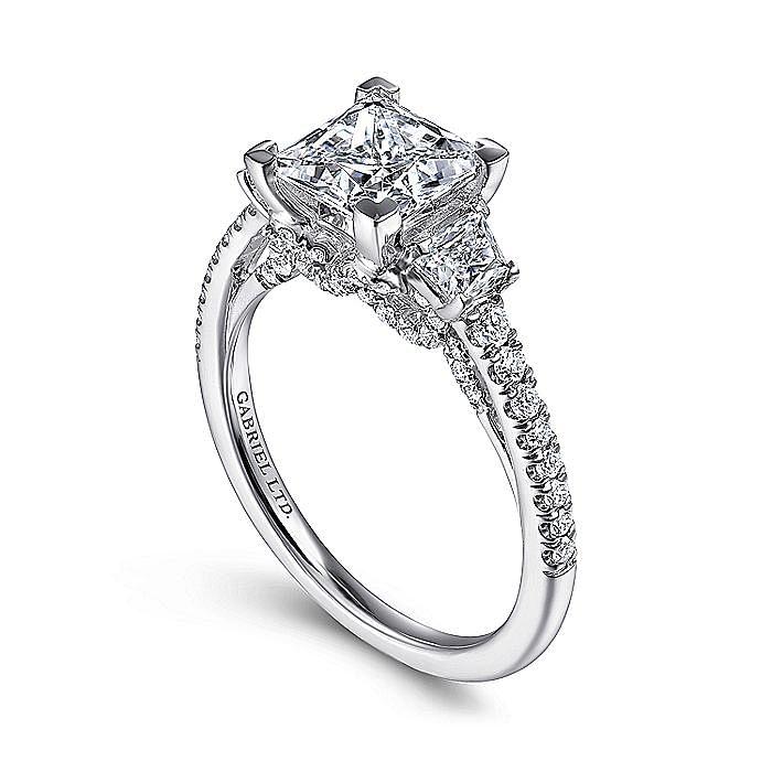 18K White Gold Princess Cut Three Stone Diamond Engagement Ring