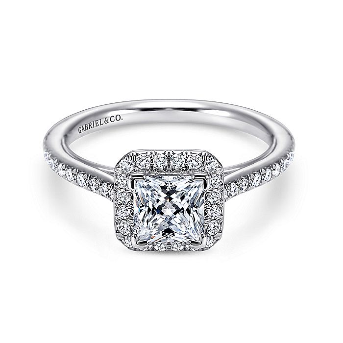 18K White Gold Princess Halo Diamond Engagement Ring