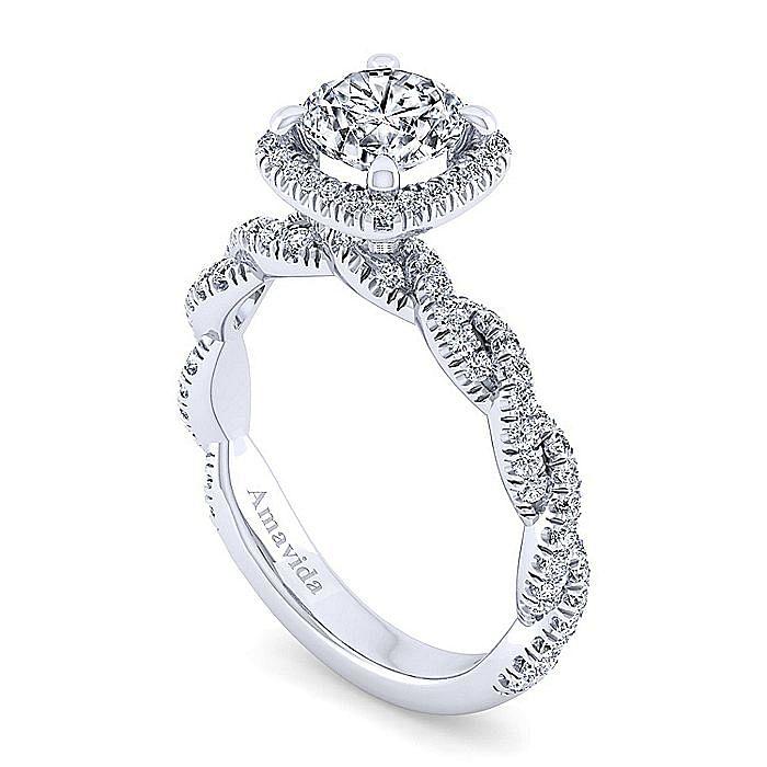 18K White Gold Round Halo Diamond Engagement Ring