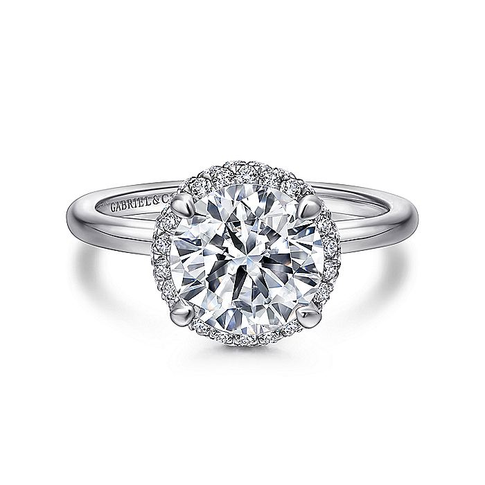18K White Gold Round Halo